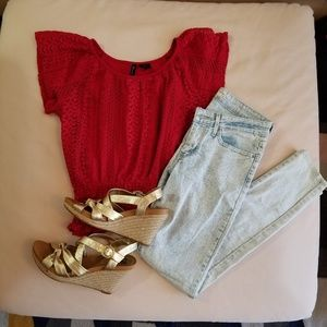 new directions Tops - Lace Red Top